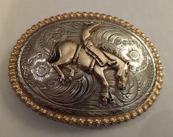 Vintage Concho Belt Buckle Bucking Bronco