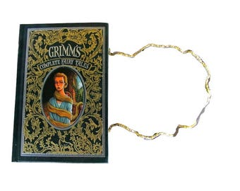 BOOK PURSE - Grimm's Complete Fairy Tales - Leather Book Purse - Made to Order