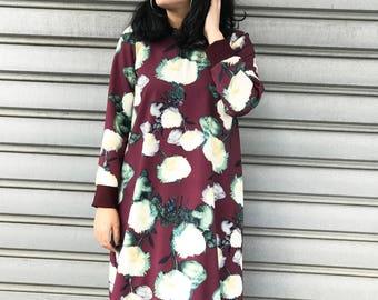 Maroon Floral dress / Floral sweatshirt dress / Flower print dress / Sweater dress / Jumper dress / Pullover dress