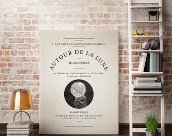 "Canvas Wall Art - Vintage Book Cover - Autour De La Lune   ""Voyage Around The Moon""  Vintage French Decor, Vintage Typography Canvas Art"