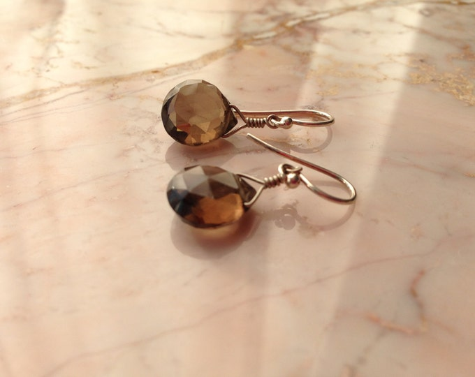 Smokey Quartz Earrings Chocolate Gift Simple Bridesmaid Drop