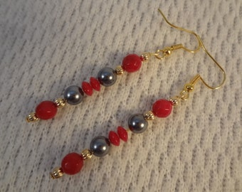 Genuine Pearl and Red Coral Natural Stone 22k Gold Earrings - Olivia F092