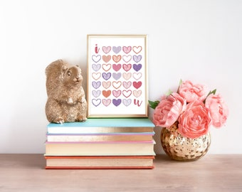 "Instant Download - Wall Art Printable - ""I <3 u"" - home decor, nursery wall art, I love you, I heart u, Pink purple orange"