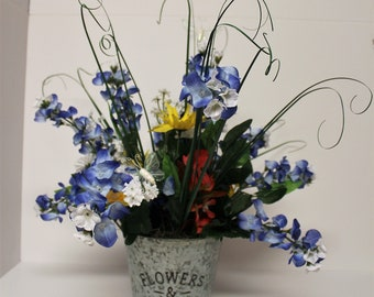 Texas Wildflower Bucket Centerpiece, Bluebonnet Bucket Centerpiece, Floral Centerpiece