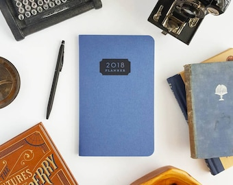 """2018 Planner — Typhoon, Deep Blue Hand Lettered Minimalistic Planner (Soft Cover) —5"""" x 8"""""""