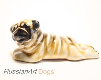 Pug fawn dog ceramic figurine handmade statue