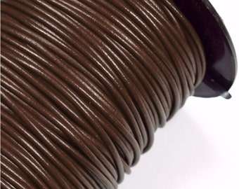 50 Meter Spool 2mm Greek Leather Cord - DARK BROWN