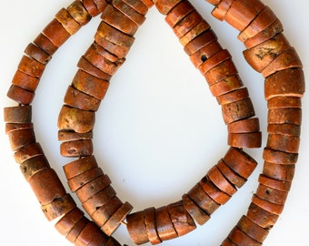 23 Inch Strand of Old Sliced Bauxite Beads - Vintage African Trade Beads - BAUX149