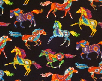 REMNANT--Colorful Rainbow Painted Horse Print Pure Cotton Fabric--1.5 YARDS