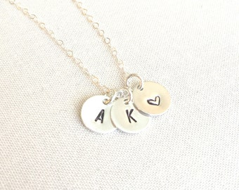 Initial Disk Necklace | Sterling Silver Necklace | Personalized Initial Necklace | Kid's Initial Necklace | Gift For Mom | Christmas Gift