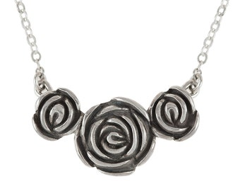 Three Roses Sterling Silver Goth Romance Pendant Necklace