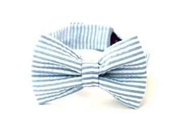 Boy's Bow Tie - Light Blue Seersucker Stripe - Pale Blue Bowtie - any size