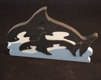 Handmade whale puzzle