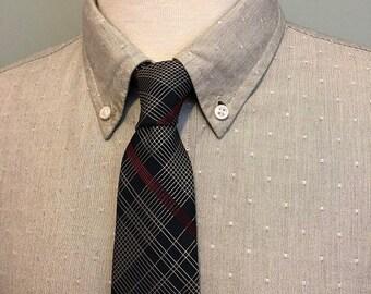 ON SALE Black/White/Red Plaid Silk Necktie by Lanvin Paris c1970s