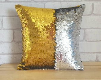 Reversible Sequin Cushion~Gold and Silver Mermaid Pillow~Sequin Throw Pillow~Colour Changing Cushion~Sensory Aid~Calming Autism Pillow