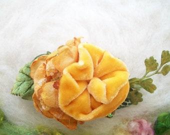Velvet Rose Hair Clip Tangerine Velvet Flowers Leaves Buds Hair Accessory Fantasy Clip Whimsical Fairytale Velvet Rose Hair Clip Handmade