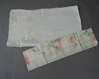 Two Antique Fabric Scraps Remnants, Reverse Embroidery & Floral Silk, Edwardian, 1900s Vintage Pink Floral