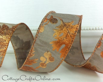 "Fall Wired Ribbon, 1 1/2"", Copper Orange Leaf Metallic Glittered Pattern on Taupe - THREE YARDS - Offray ""Copper Leaves"" Wire Edged Ribbon"