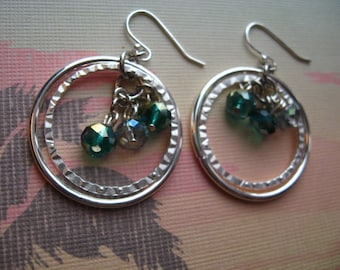 FREE Ship - Earing Bling - Silver Rings and Ocean Crystals - Dangle Earrings