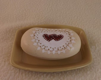 Two Hearts Hand Painted Soap