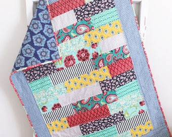 Baby Girl Quilt   Modern Baby Quilt   Red Blue Teal Quilt   Handmade Baby Quilts   Baby Bedding   Toddler Bedding   Crib Quilt
