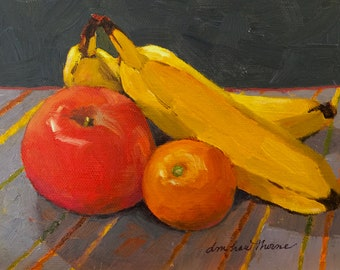 """Small original oil painting """"Fruit Ensemble on Stripped Cloth"""" by Dotty Hawthorne"""