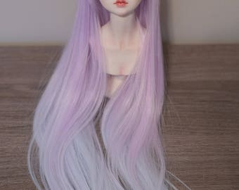 BJD handmade gradient/ ombre color long straight wig purple & blue