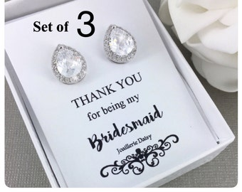 Set of 3 Wedding Earrings Crystal Stud Earrings Bridal Earrings Bridal Jewelry Gift for Her Cubic Zirconia Earrings Maid of Honor Gift