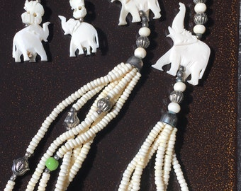 Camel Bone Two Carved Elephants & Beads Necklace with Earrings