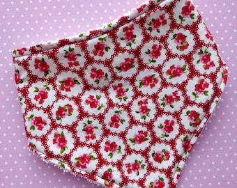 Cotton or Bamboo bandana dribble bib (choose backing fabric) - vintage roses red