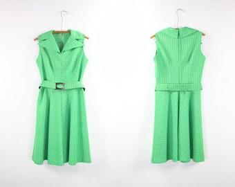 Vintage Polka Dot Dress / 70's Belted Pointed Collar Sleeveless Midi Sz 6