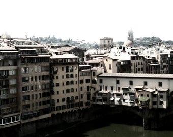 Ponte Vecchio Digital Art Print; Florence Italy art print; Italian art; Travel Photography art; gallery wall art; shelf decor; Italy; bridge