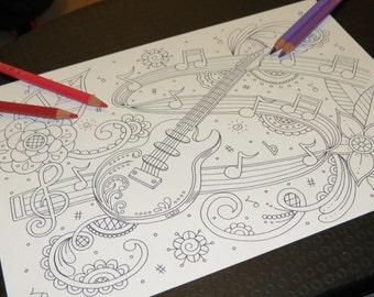 Adult Colouring Page, Music Doodle Theme