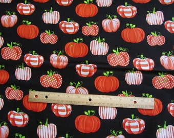 Black with Orange Patchwork Pumpkins Henry Glass Cotton Fabric By The Yard