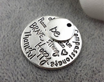 """20sets/lot """"Kind Wise Compassionate True Thankful Happy"""" and Small Charm"""" Be"""" Antique Silver Color Word Charm Fashion DIY Jewelry Findings"""