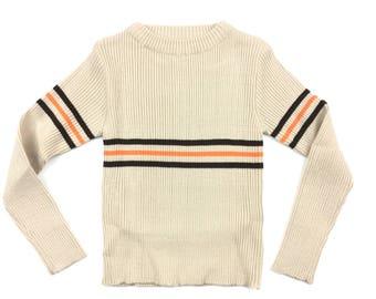 Vintage 1970s 70s jumper sweater age 3 ribbed stripec deadstock