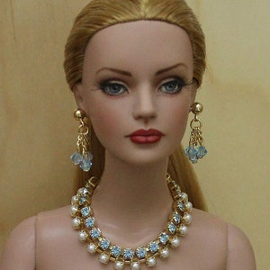 """Aqua Marine & Pearls"""" Jewelry Suite For Sydney Chase, Tyler Wentworth, Ellowyne Wilde And Other Same Size Dolls"""