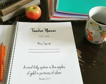 2017 2018 TEACHER PLANNER 2017-2018, elementary lesson plans, spiral bound, weekly calendar agenda, custom cover, homeschool planner