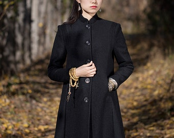 Long wool coat - High collar - Coat classic fall/winter  - Long sleeves coat - Made to order