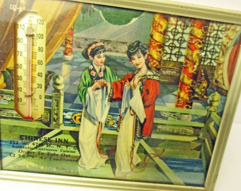 Chinese Inn Restaurant Advertising Picture Frame Thermometer With Calendar Vintage 1957