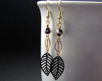 Dangle Earrings. Leaf Earrings in Black and Gold - Dancing Leaves. Handmade Earrings.