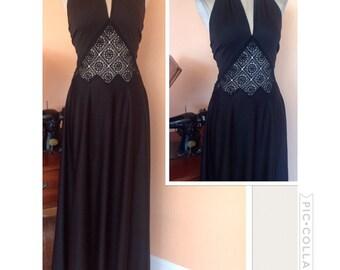 Vintage 1970s black halter dress with peek a boo waist S/M