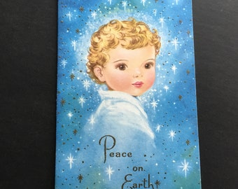 Vintage Christmas greeting card, peace on earth, Angel, Miraculous Medal