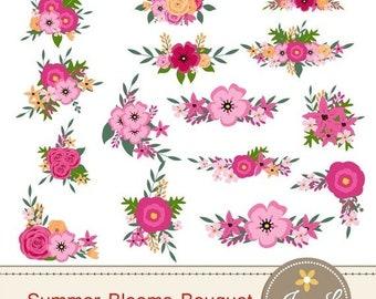 50% OFF Summer Flower Bouquet Clipart, Pink Wedding Flowers, Shabby Flower Bunches, Floral Arrangement for digital Scrapbooking, Wedding, In