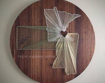 Three State String Art Round, 3 State String Art, Triple State String Art, State Stringart, State Wall Decor, String State Wall Decor,
