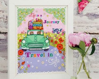 Life is a Journey Travel In Style - Illustration Print - Gift for Morris Minor Lovers - Morris Minor Print - Wall Art
