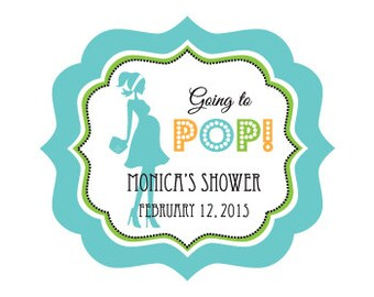 Ready to Pop Baby Shower Labels - Going to Pop Stickers - Boy Baby Shower Ideas (EB3020GPB) - set of 24 favor labels