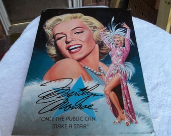 "1995 the estate of MARILYN MONROE Metal SIGN 12.5 x 17.5"" painted by eric wehder unofficially signed only the public can make a star"