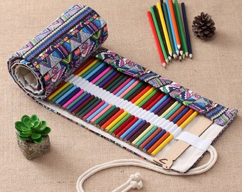 Roll Up Colored Pencil, Marker, Crochet Hook, Paint Brush, Make Up Brush Case Wrap Holder Bag Storage Pouch 72