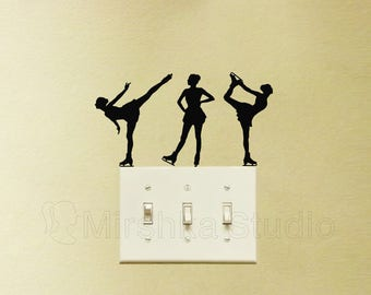 Figure Skating Light Switch Velvet Stickers - Set Of 3 Skaters Wall Decals - Ice Skating Laptop Decal - Glide Skating Vinyl Wall Decor